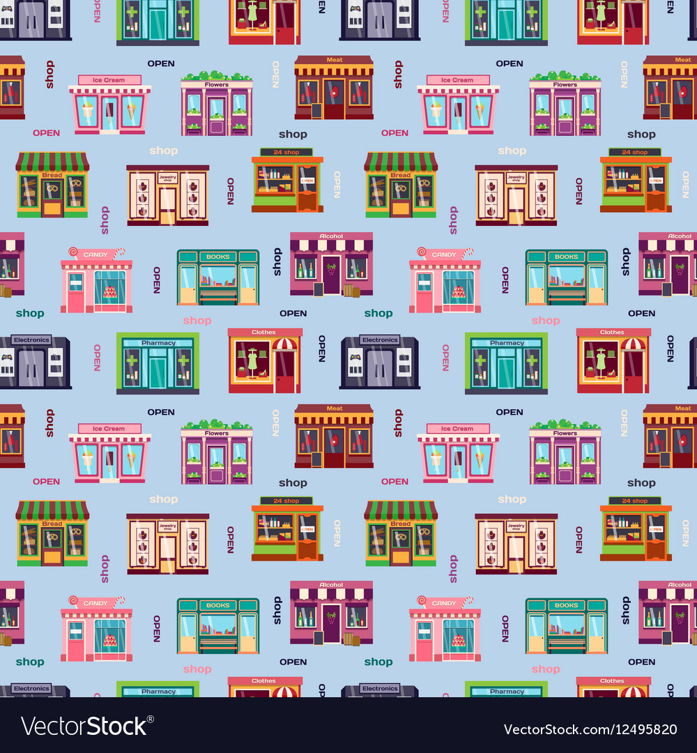 Shop facade pattern vector