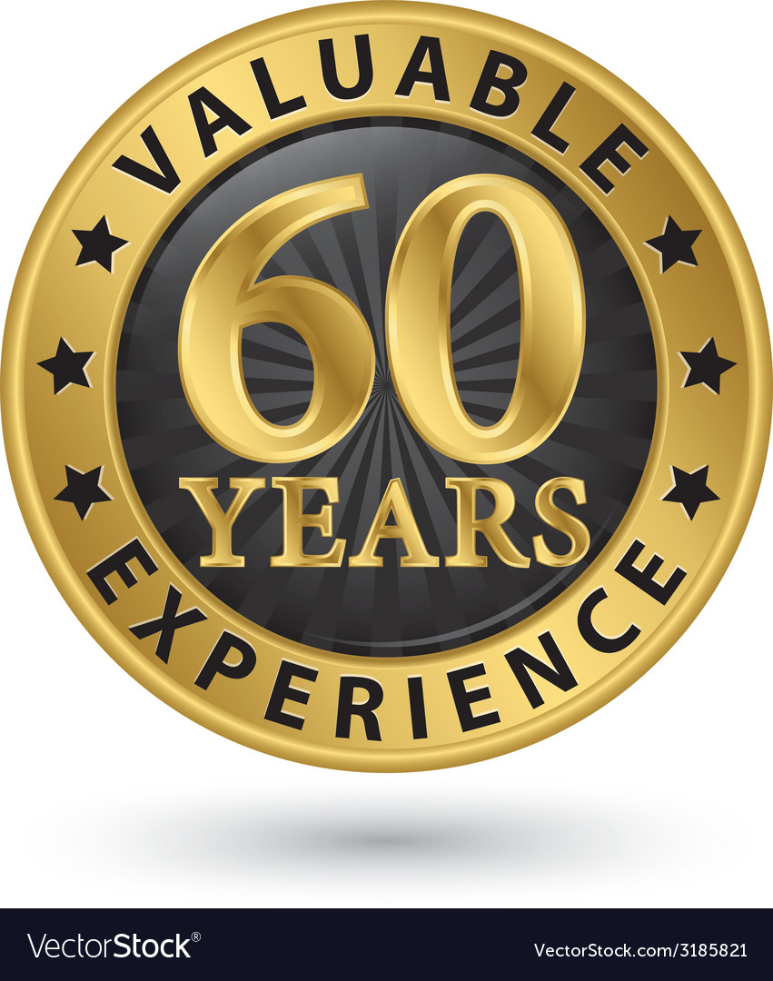 60 years valuable experience gold label vector