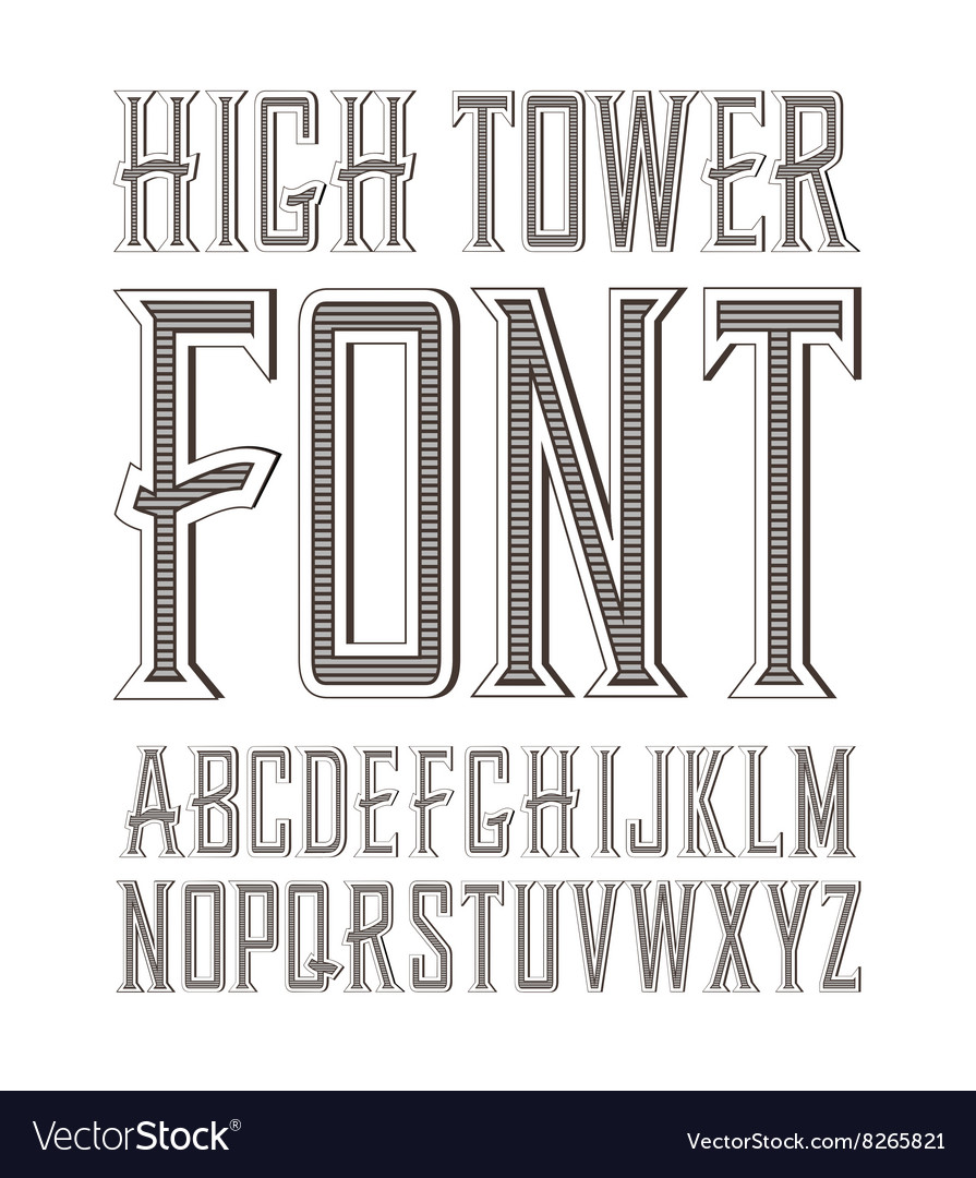 Handy crafted vintage label font vector