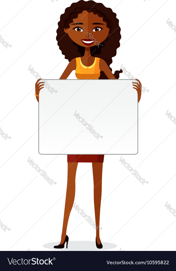 African american businesswoman holding board vector