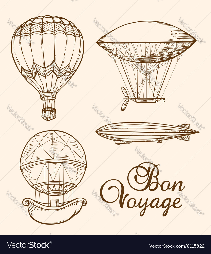 Set of vintage hand drawn air balloons vector