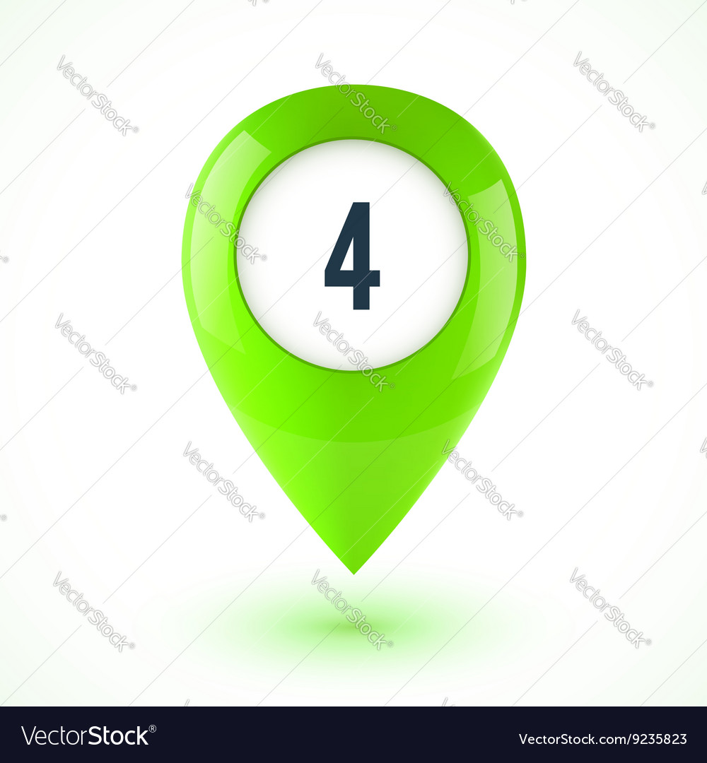 Green realistic 3d glossy map point symbol vector