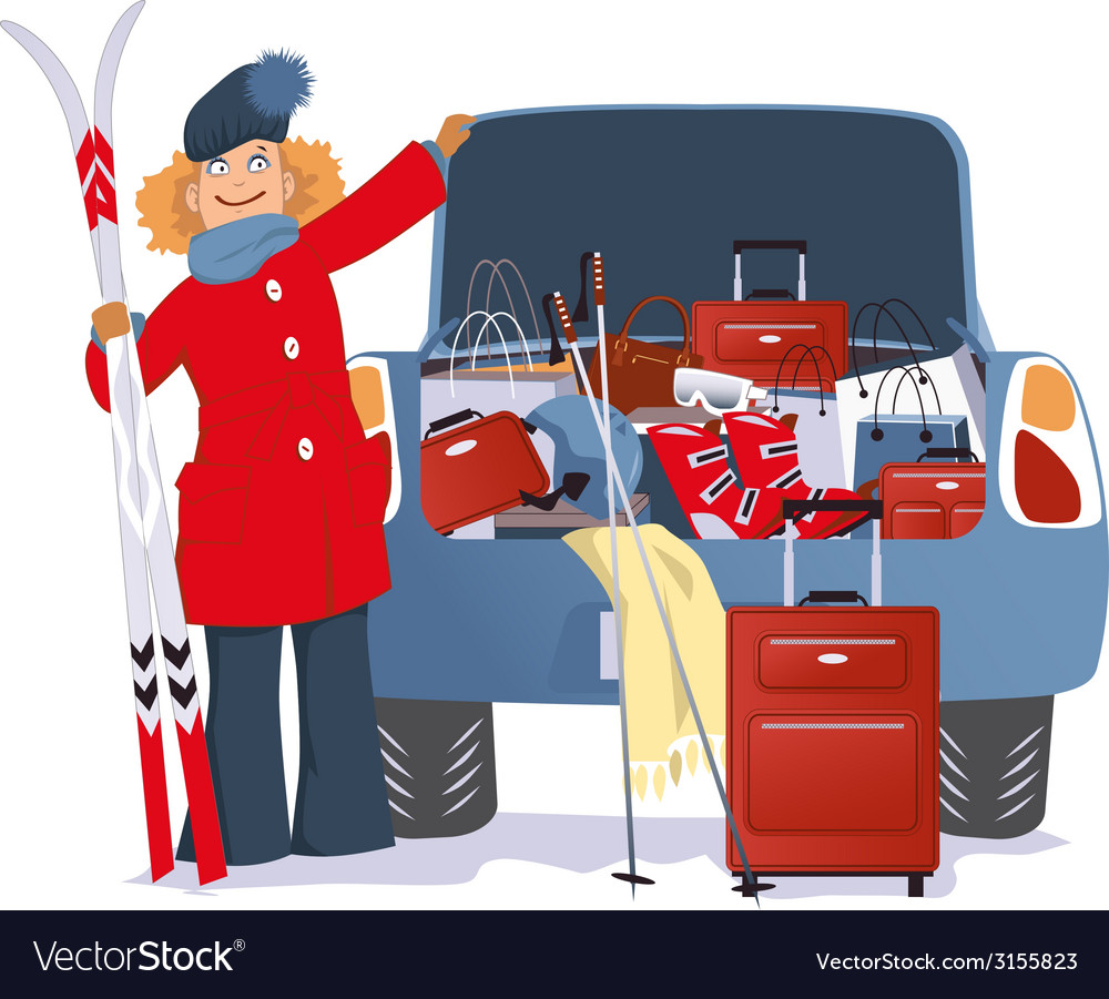 Woman shopping for a ski trip vector