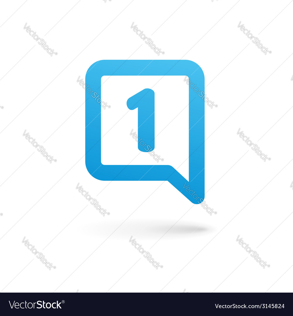 Number one 1 speech bubble logo icon design vector