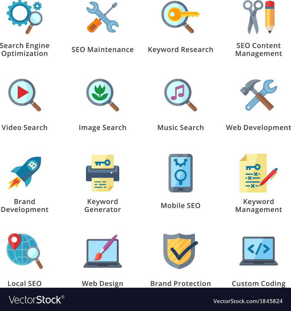 Seo and internet marketing flat icons  set 1 vector