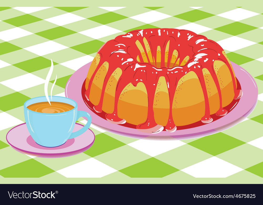 Cake with glaze and a cup of hot drink vector