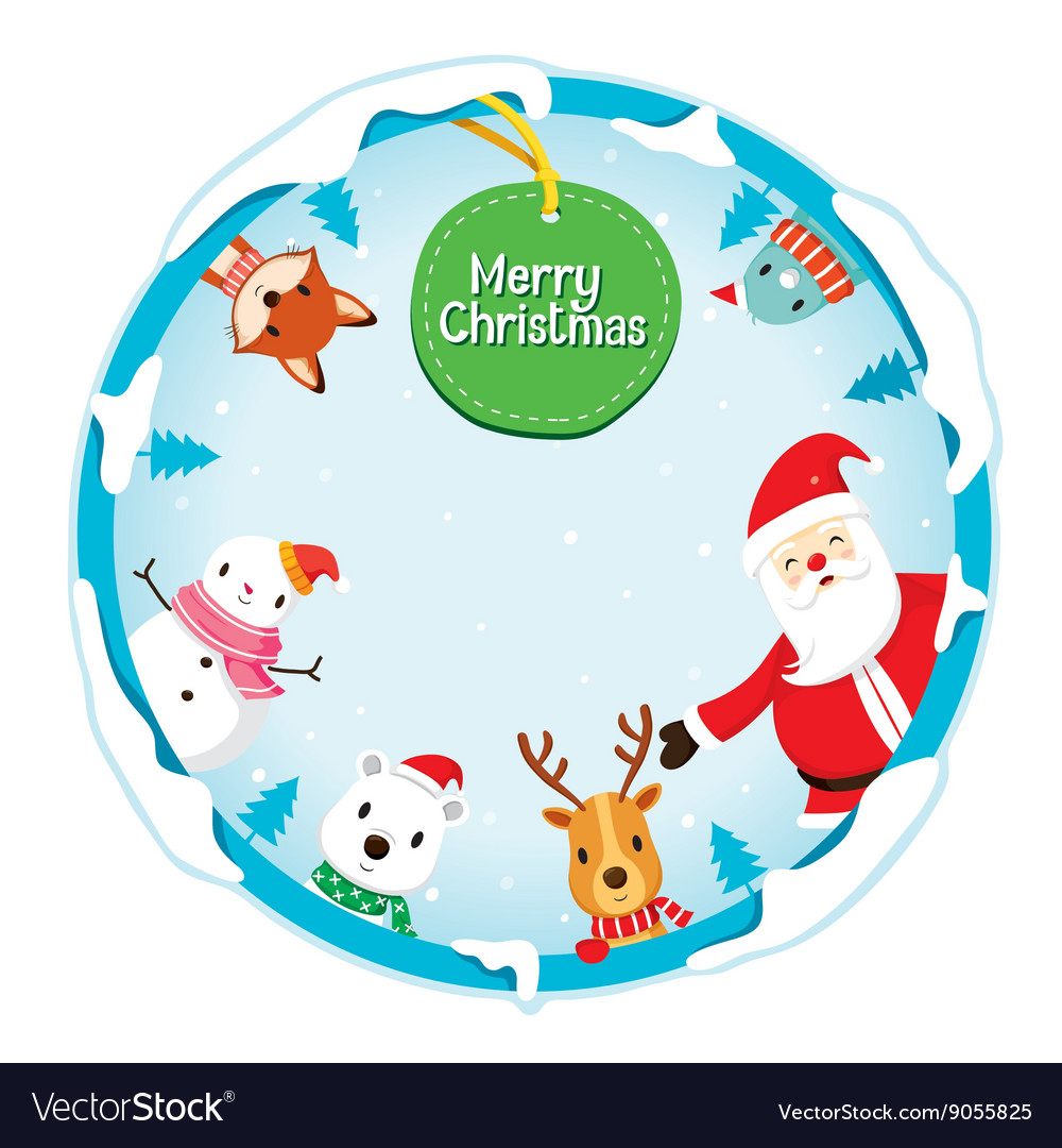 Christmas ornaments on circle frame vector