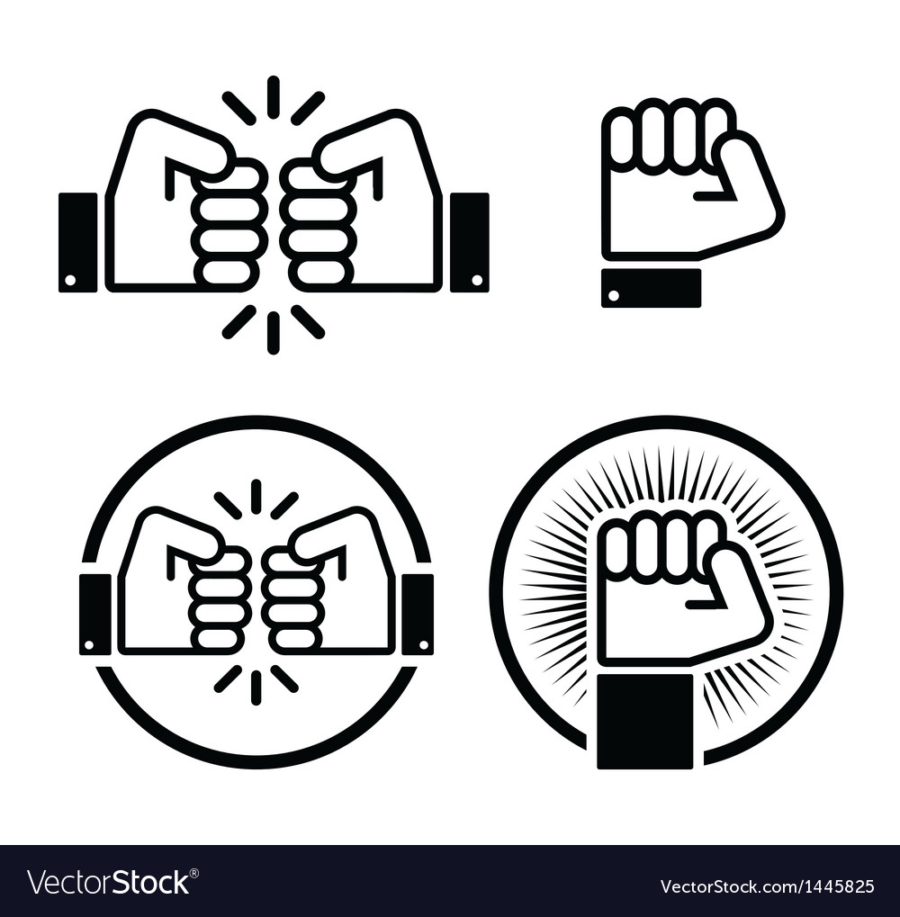 Fist fist bump icons set vector
