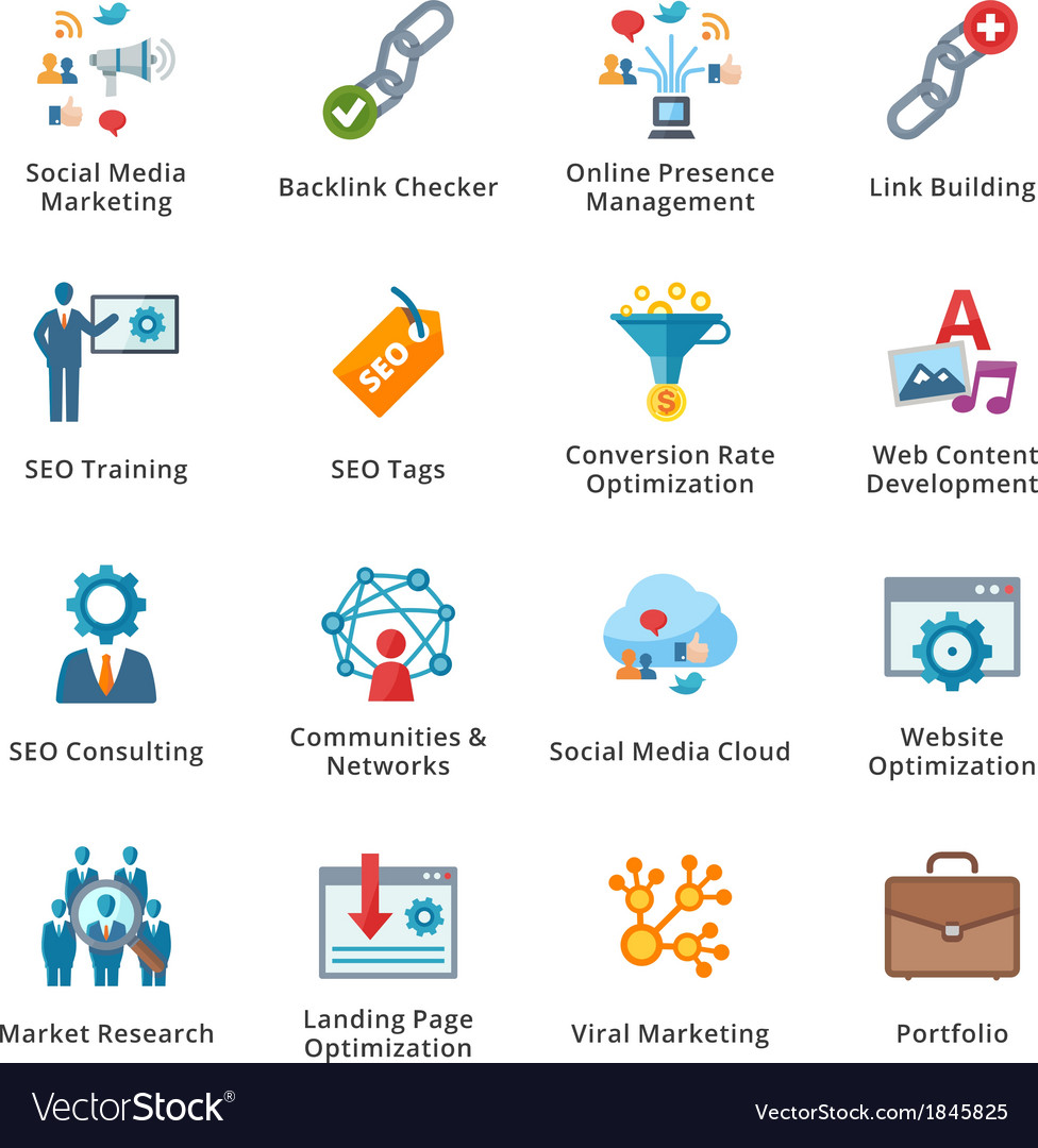 Seo and internet marketing flat icons  set 2 vector