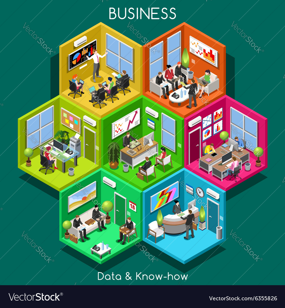 Business 01 cells isometric vector