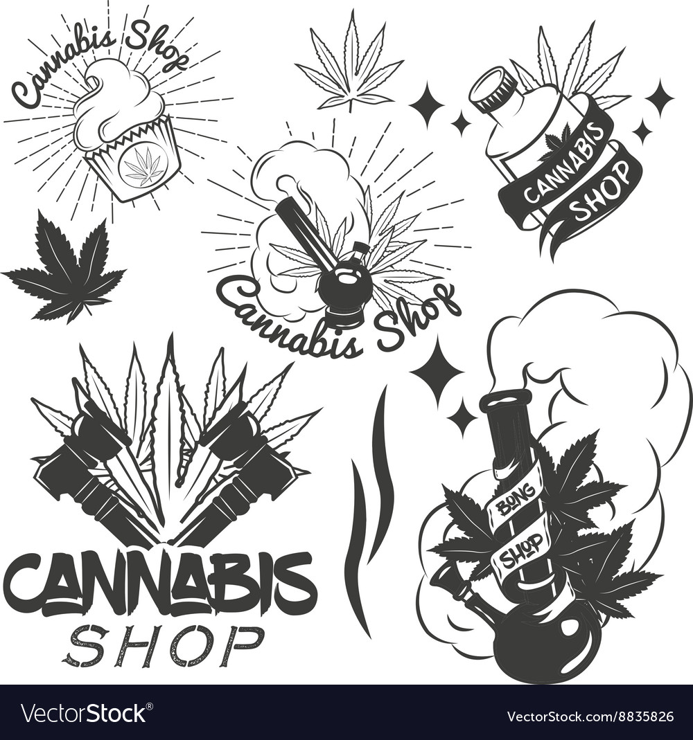 Set of medical marijuana labels in vintage vector