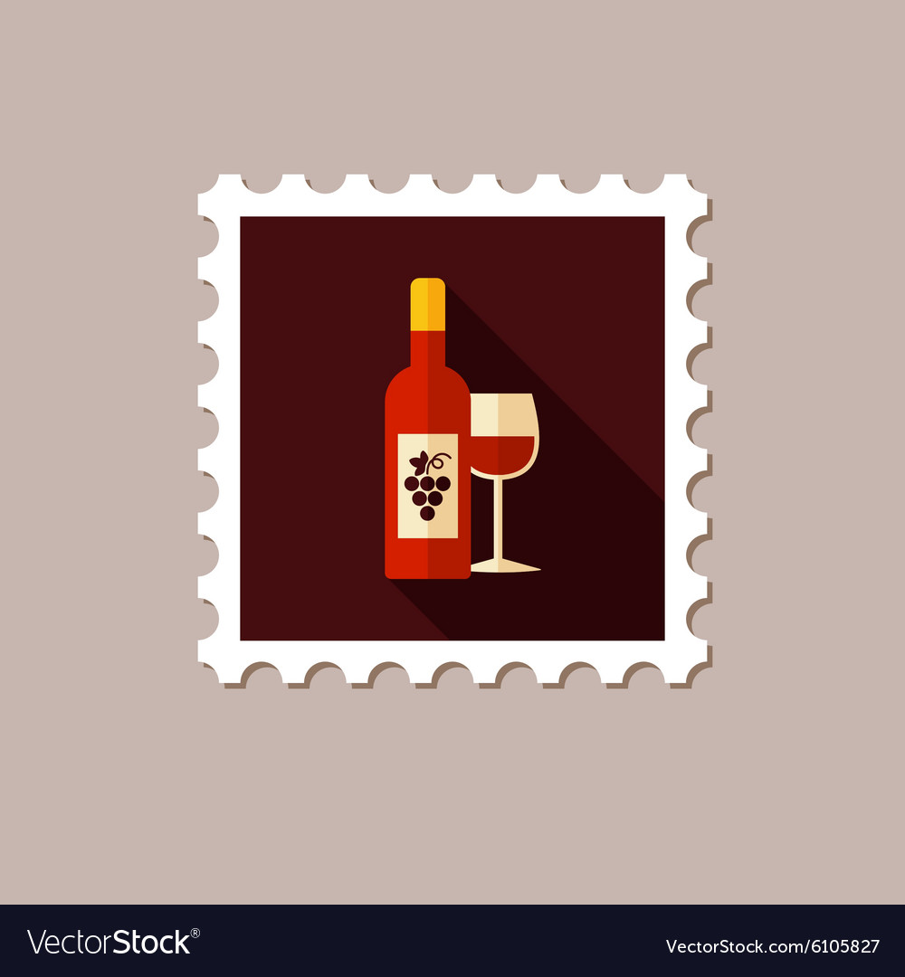 Wine flat stamp with long shadow vector