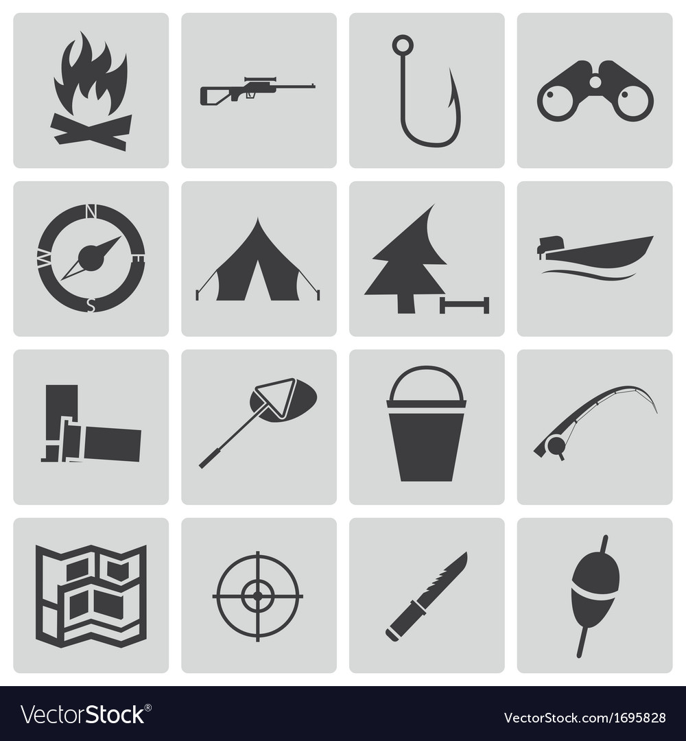 Black hunting icons set vector