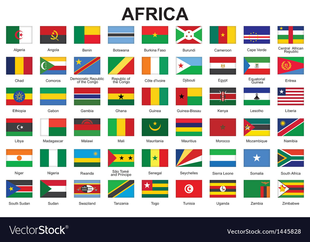 Buttons with flags of africa vector