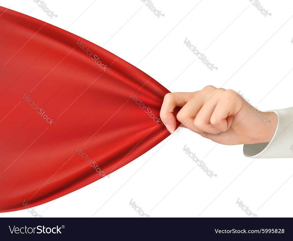 Hand tugging a red cloth with space for text vector