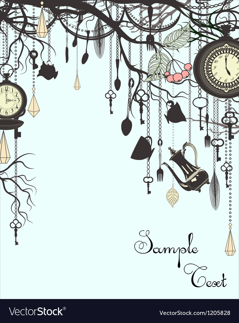 Tea party vintage vertical background vector