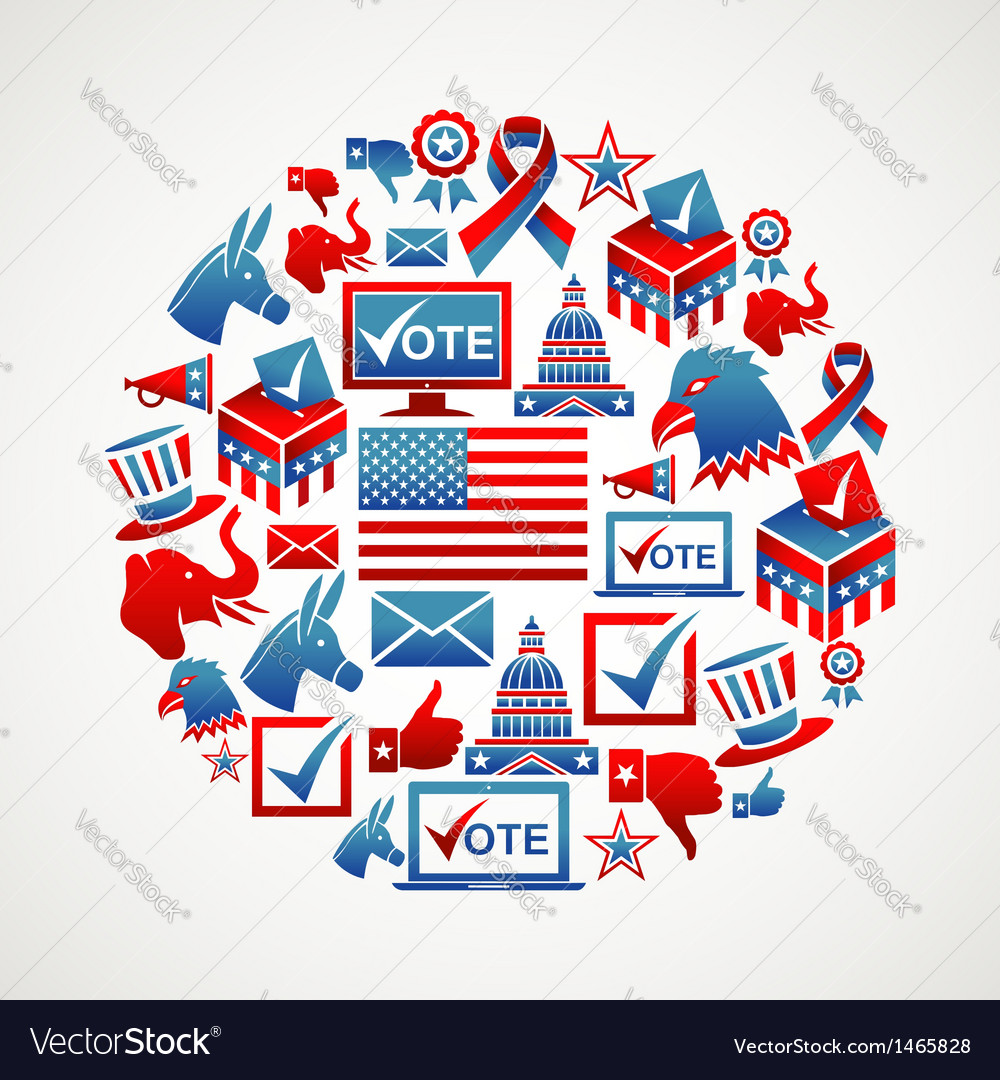 Us elections icons circle vector