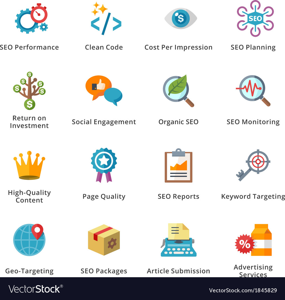 Seo and internet marketing flat icons  set 4 vector