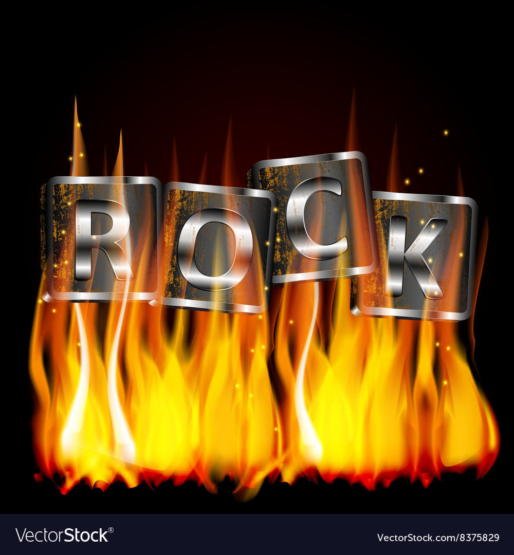 Word rock metal flame vector