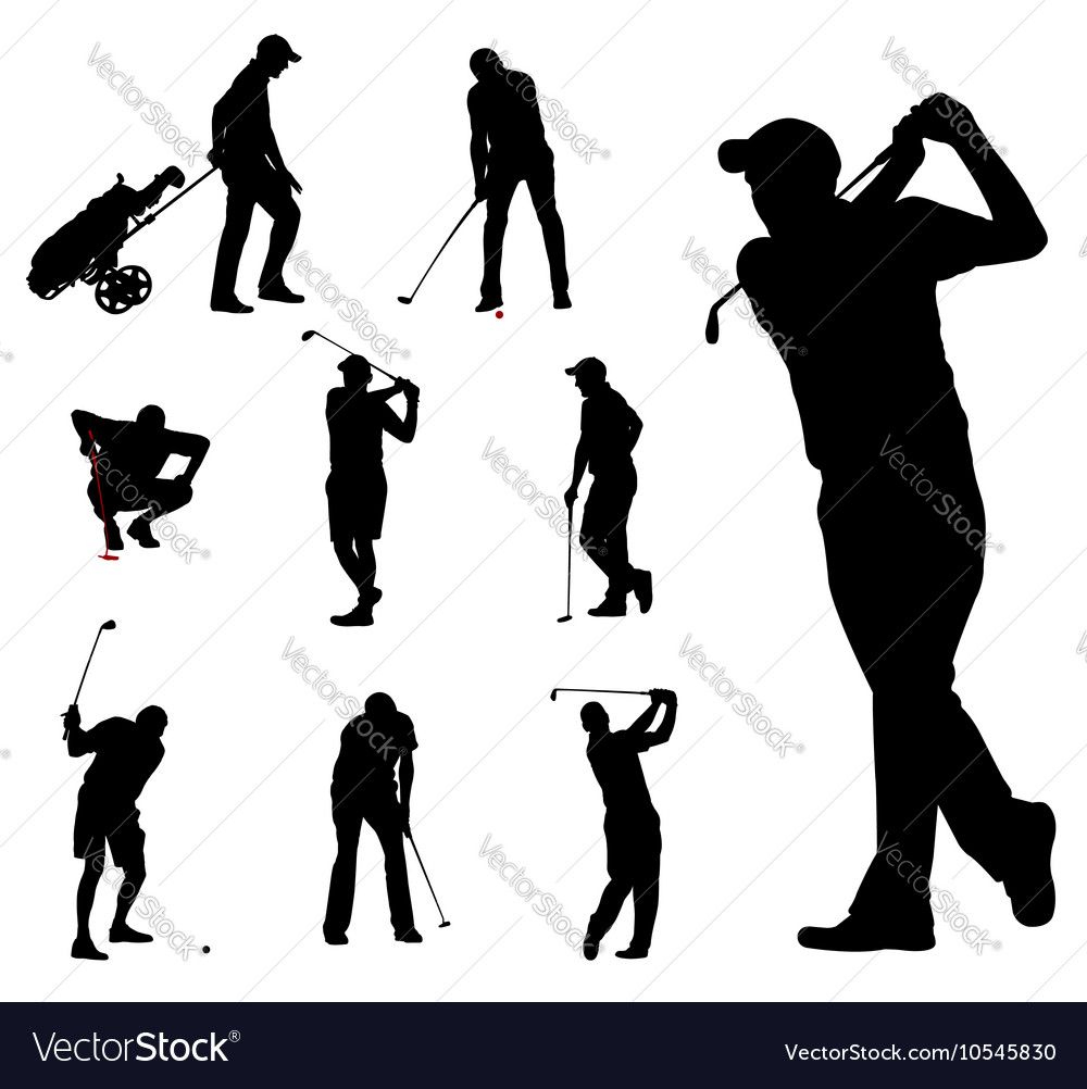 Golfers silhouettes 2 vector