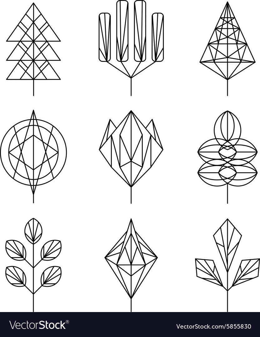Graphical tree set hipster linear style vector