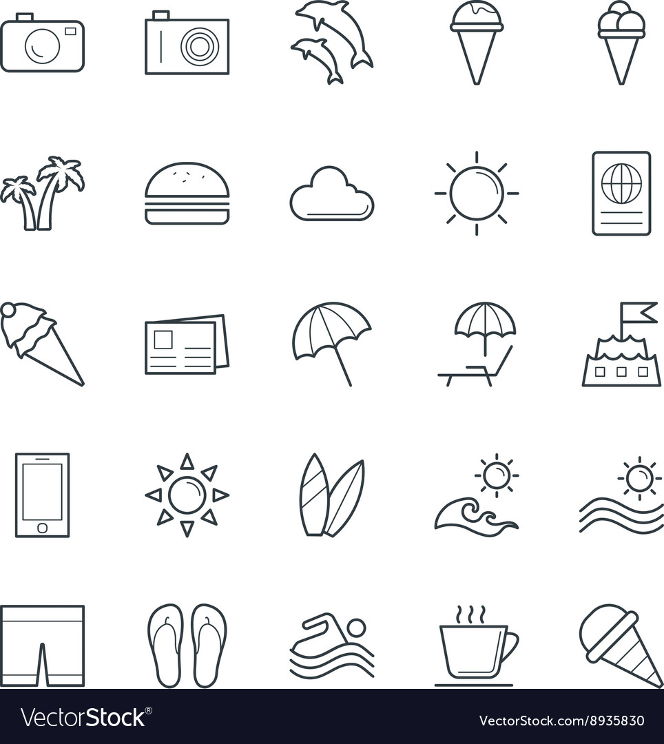 Summer cool icons 2 vector