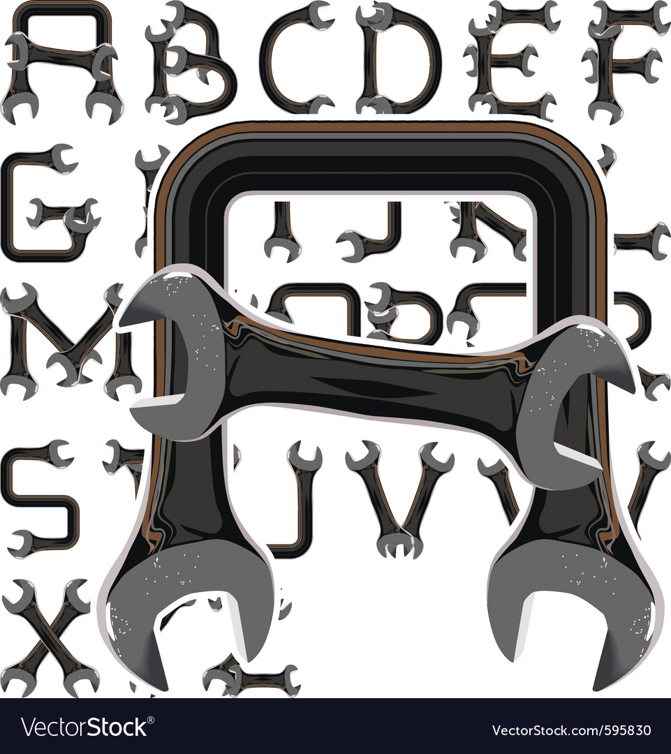 Wrench alphabet vector