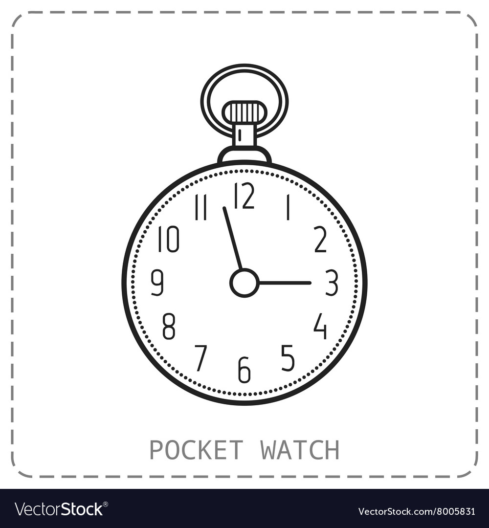 Flat outline icon pocket watch isolated on white vector