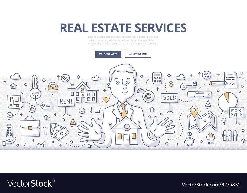 Real estate services doodle concept vector