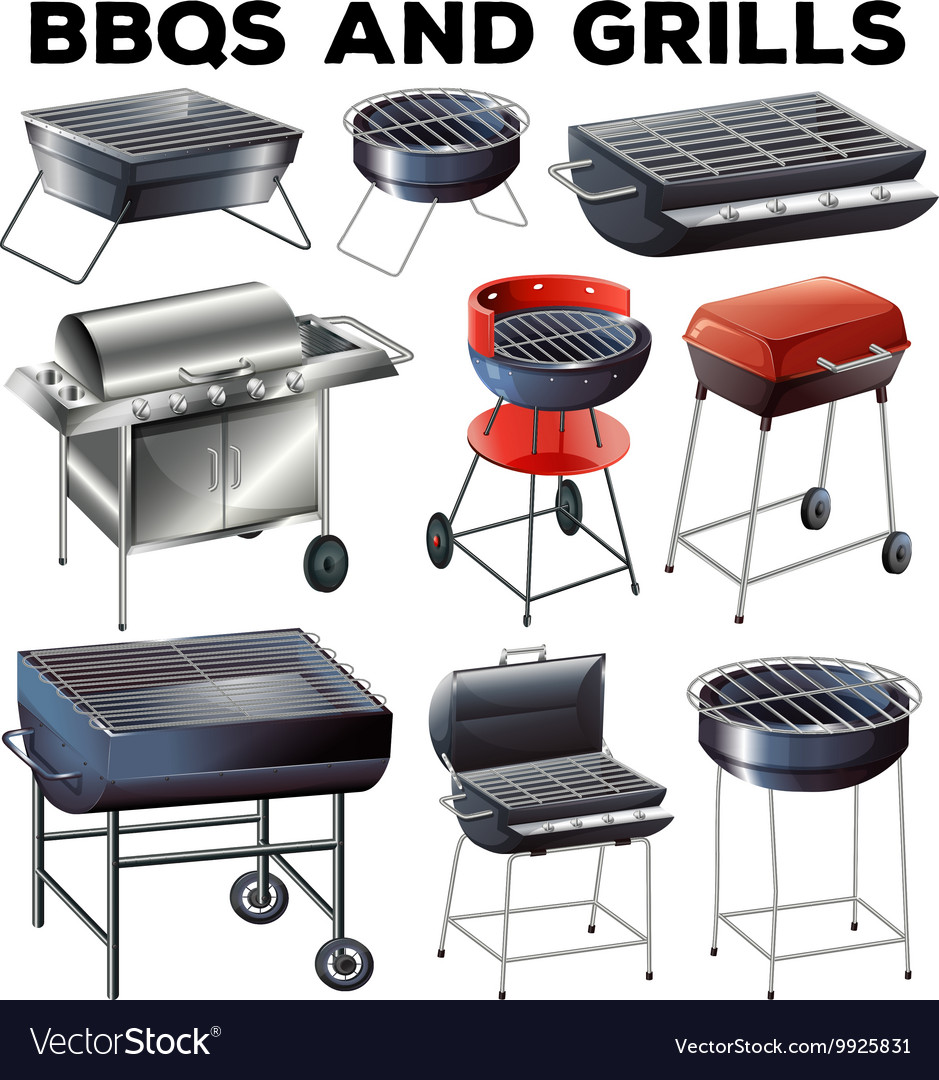 Set of bbqs and grills equipment vector