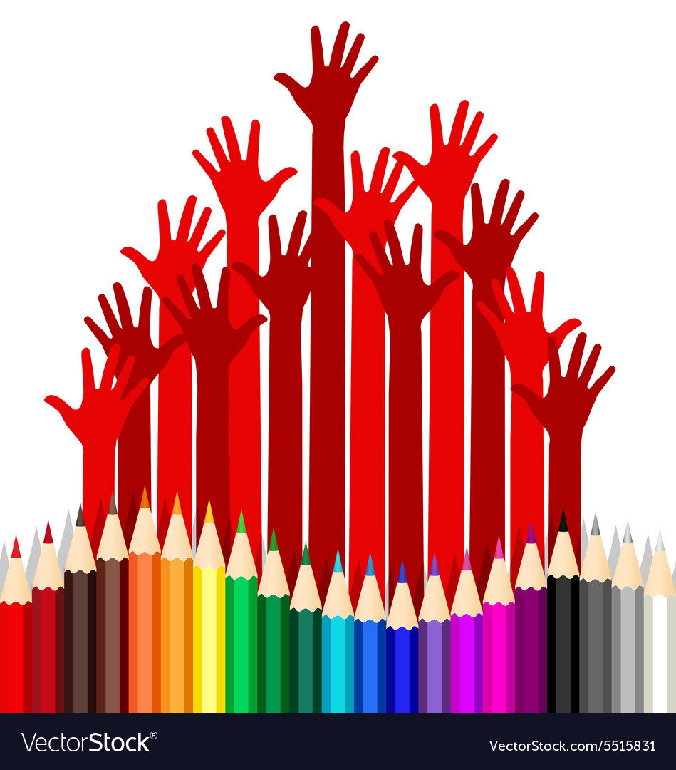 Welcome back to school with hands and colour vector