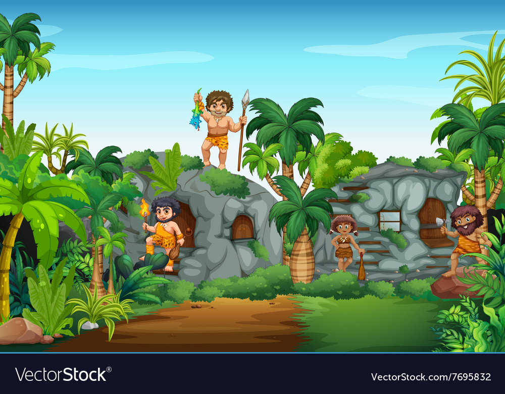 Cave people living in the forest vector