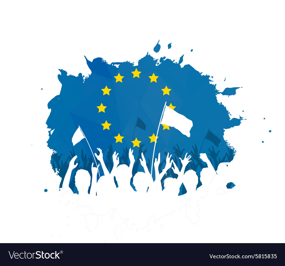 Celebrating crowd with european union flag vector