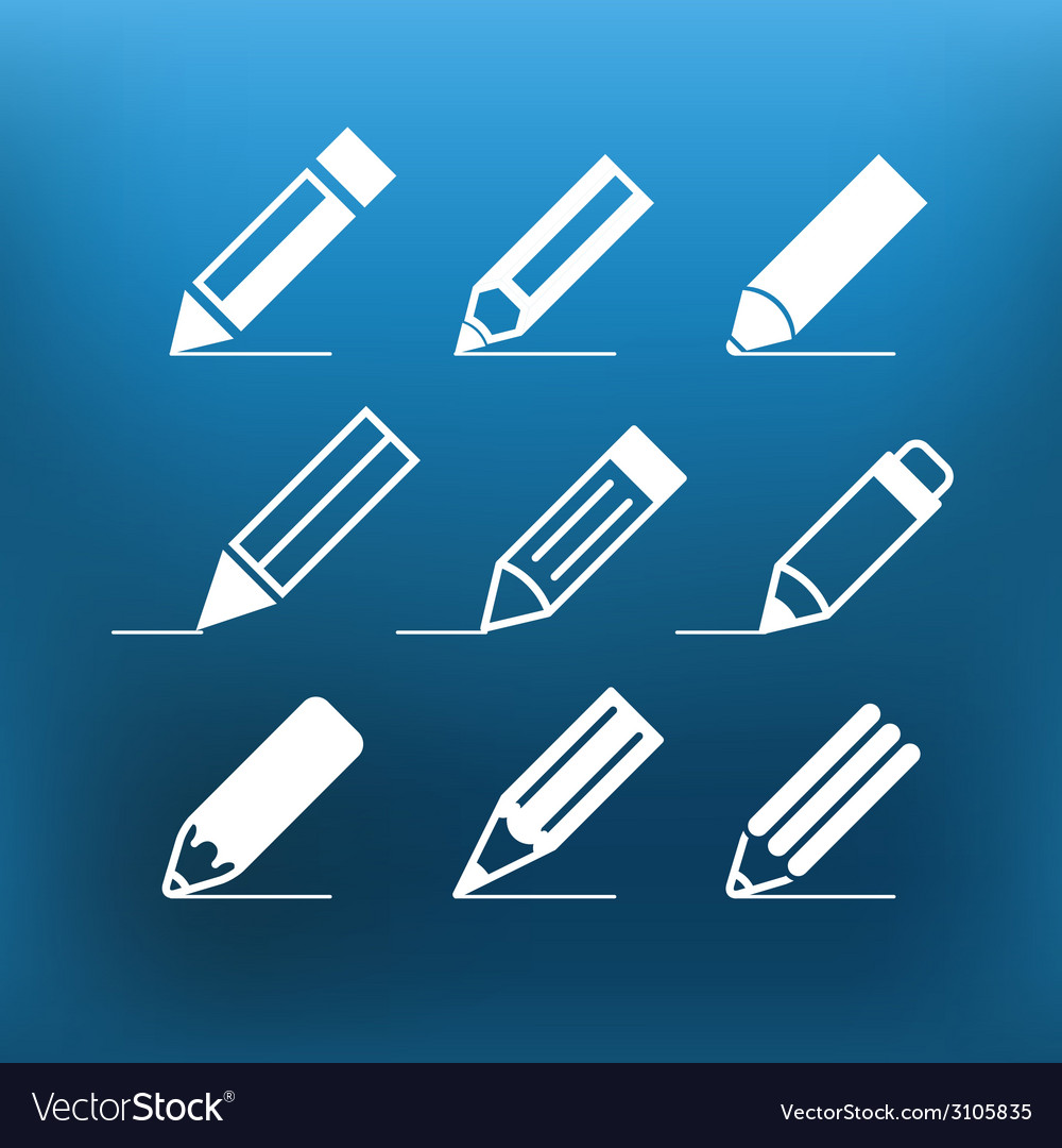White pencil icons clipart on color background vector