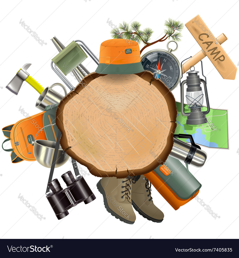 Wooden board with camping accessories vector