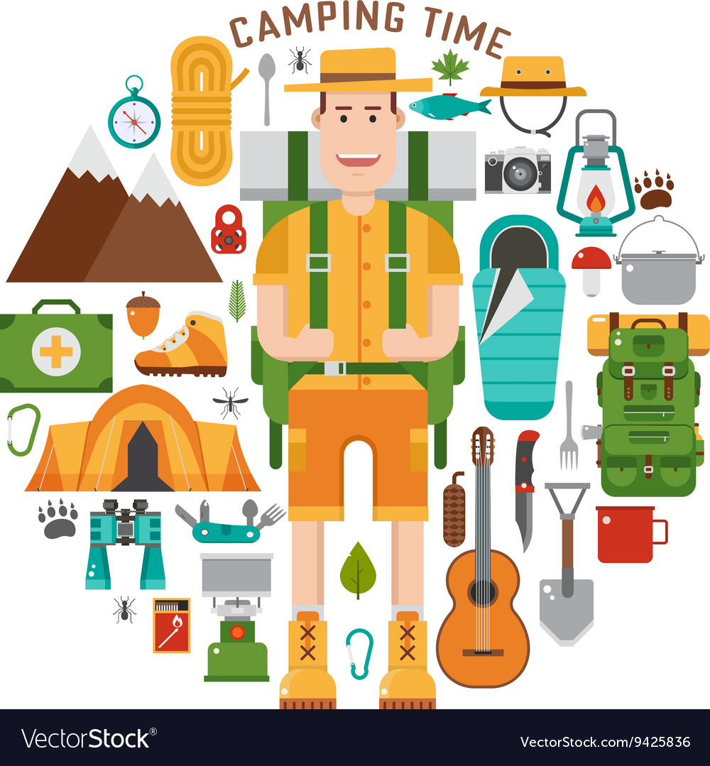 Hiking and camping gear collection vector