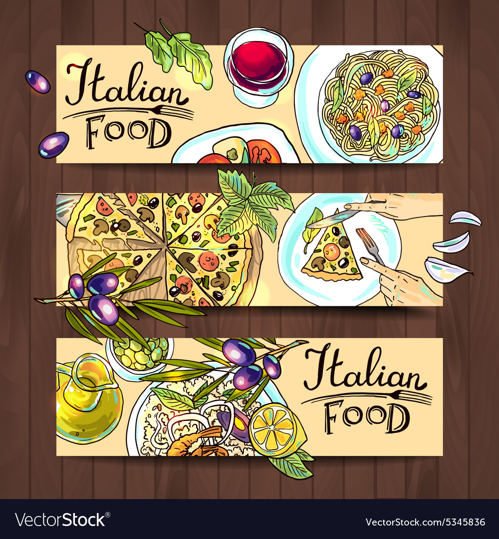 Horizontal banners italian food  pizza pasta vector