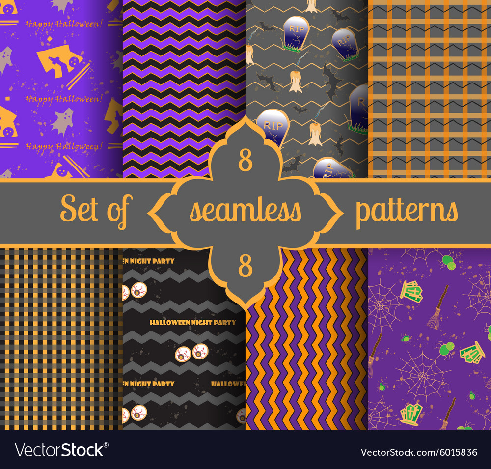 Set seamless halloween backgrounds and geometric vector