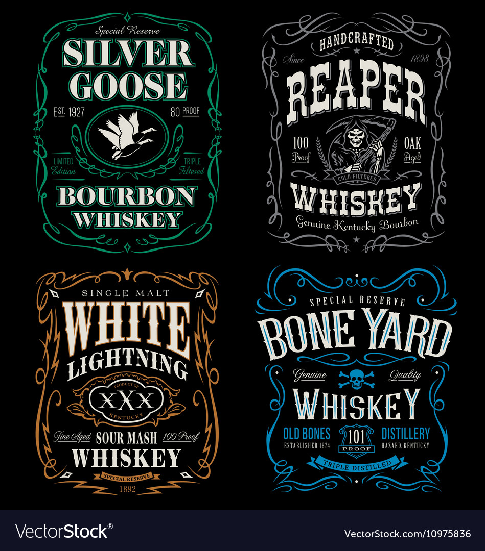Whiskey label tshirt graphic set vector