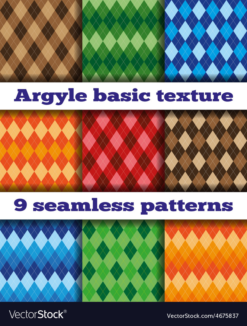 Set argyle seamless texture vector