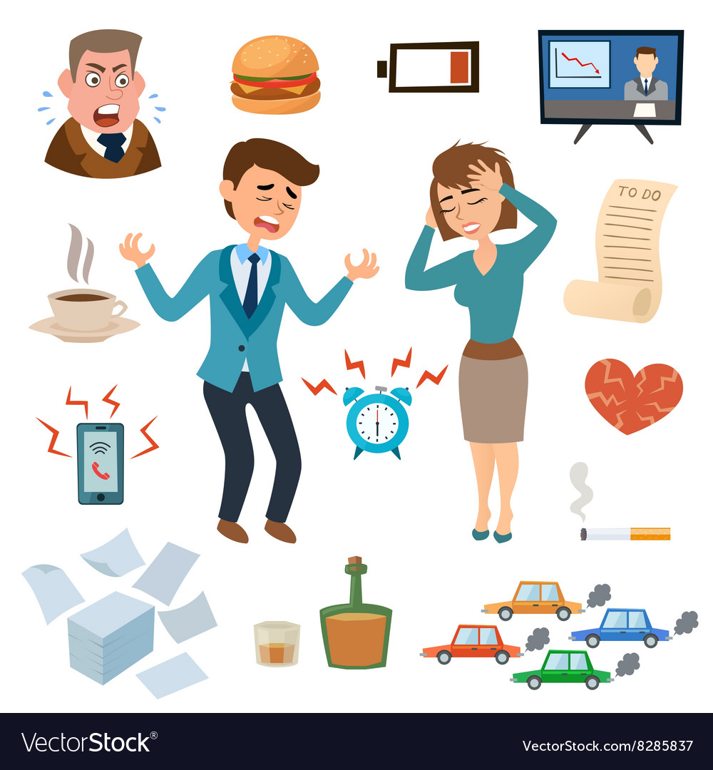 Stress people pressure workplace tired unhappy vector