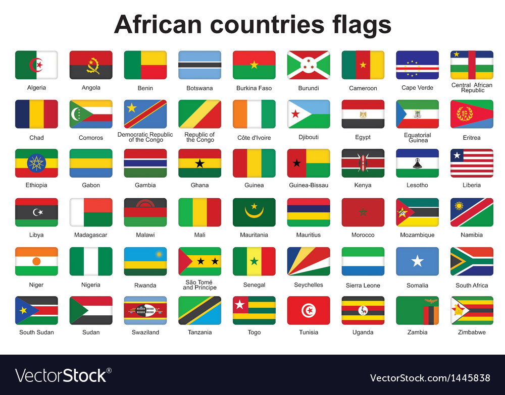 African countries flag buttons vector