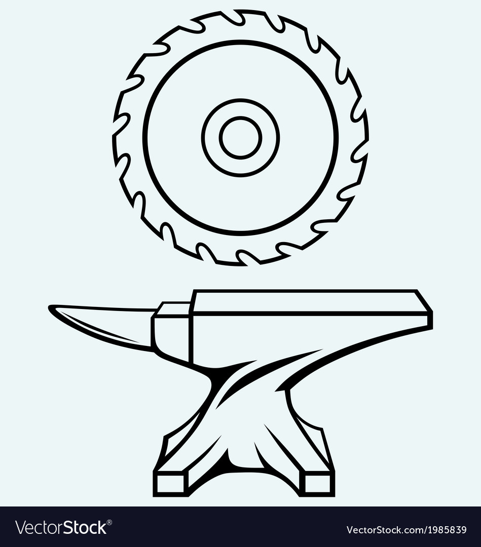 Circular saw blade and anvil vector