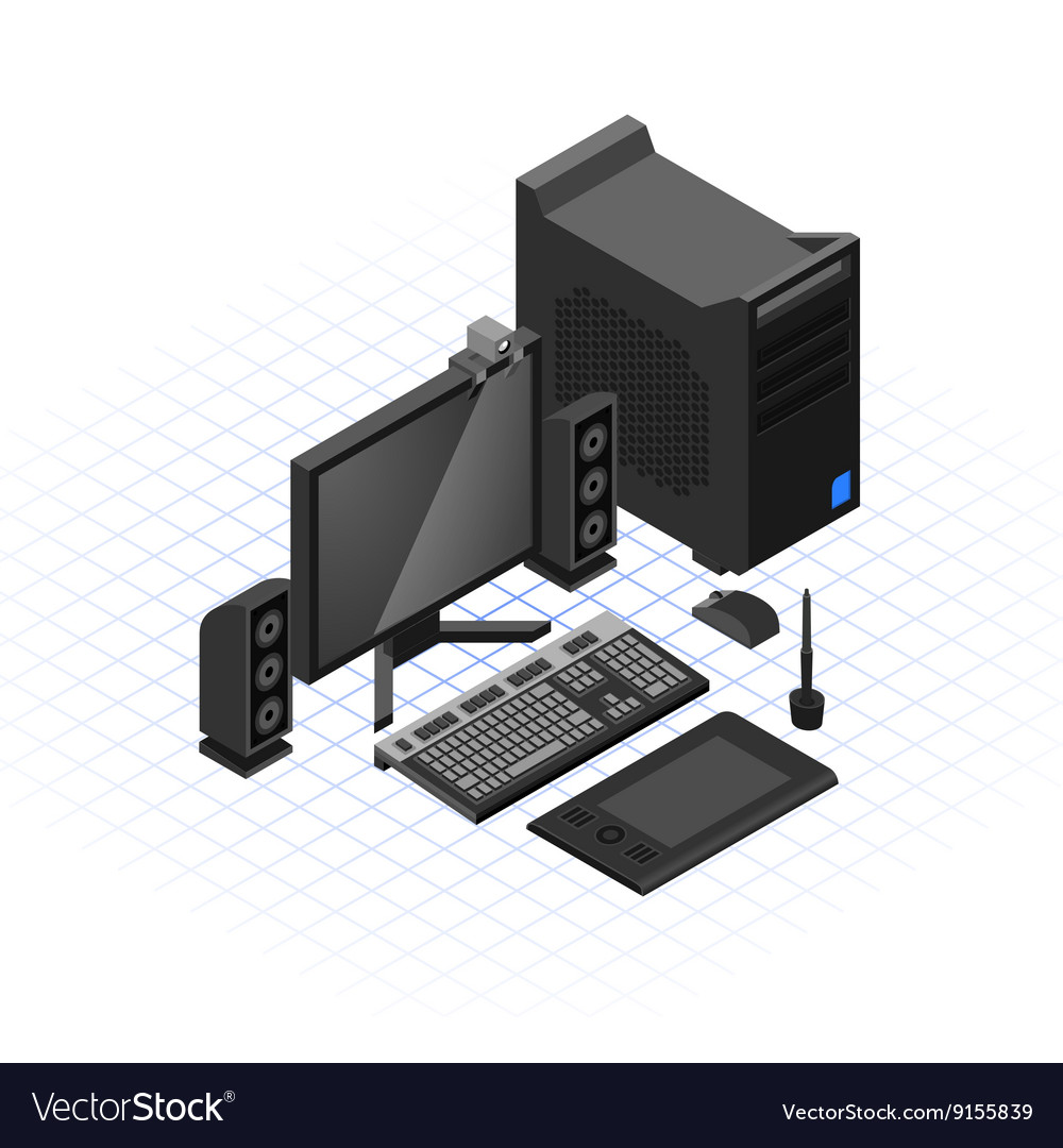 Isometric computer set vector