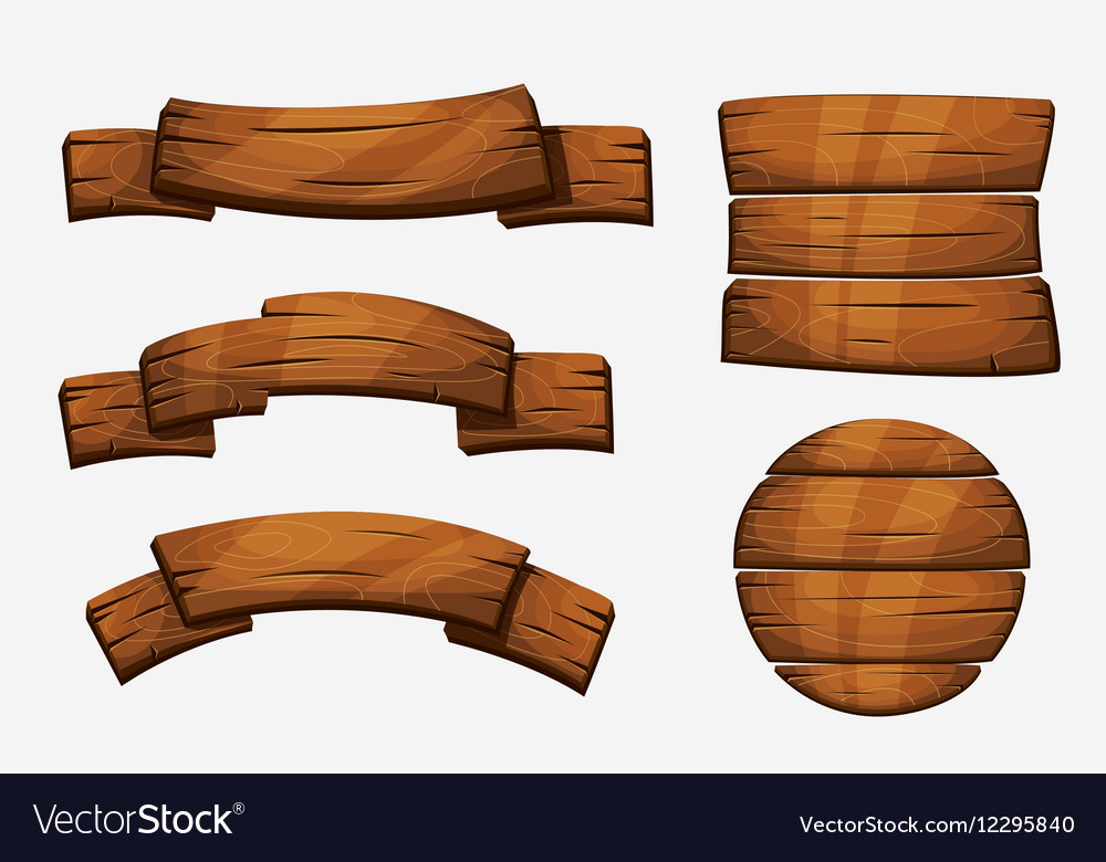 Cartoon wooden plank signs wood banner vector