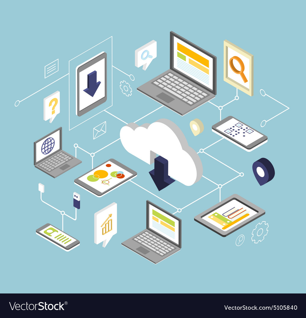 Mobile smartphone services cloud concept vector