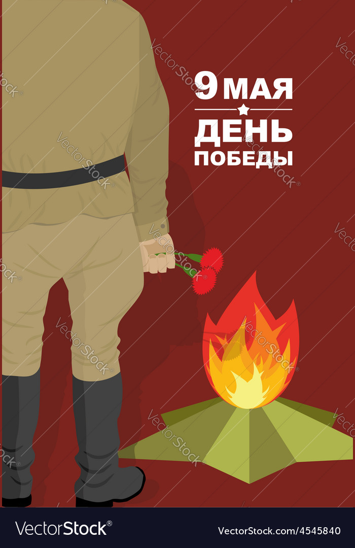 Victory day may 9 soldiers with carnations day of vector