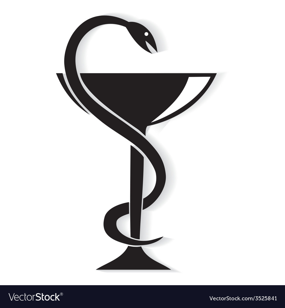Pharmacy symbol medical snake vector