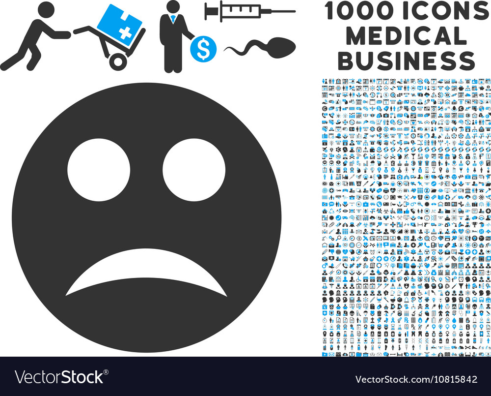 Sad icon with 1000 medical business symbols vector