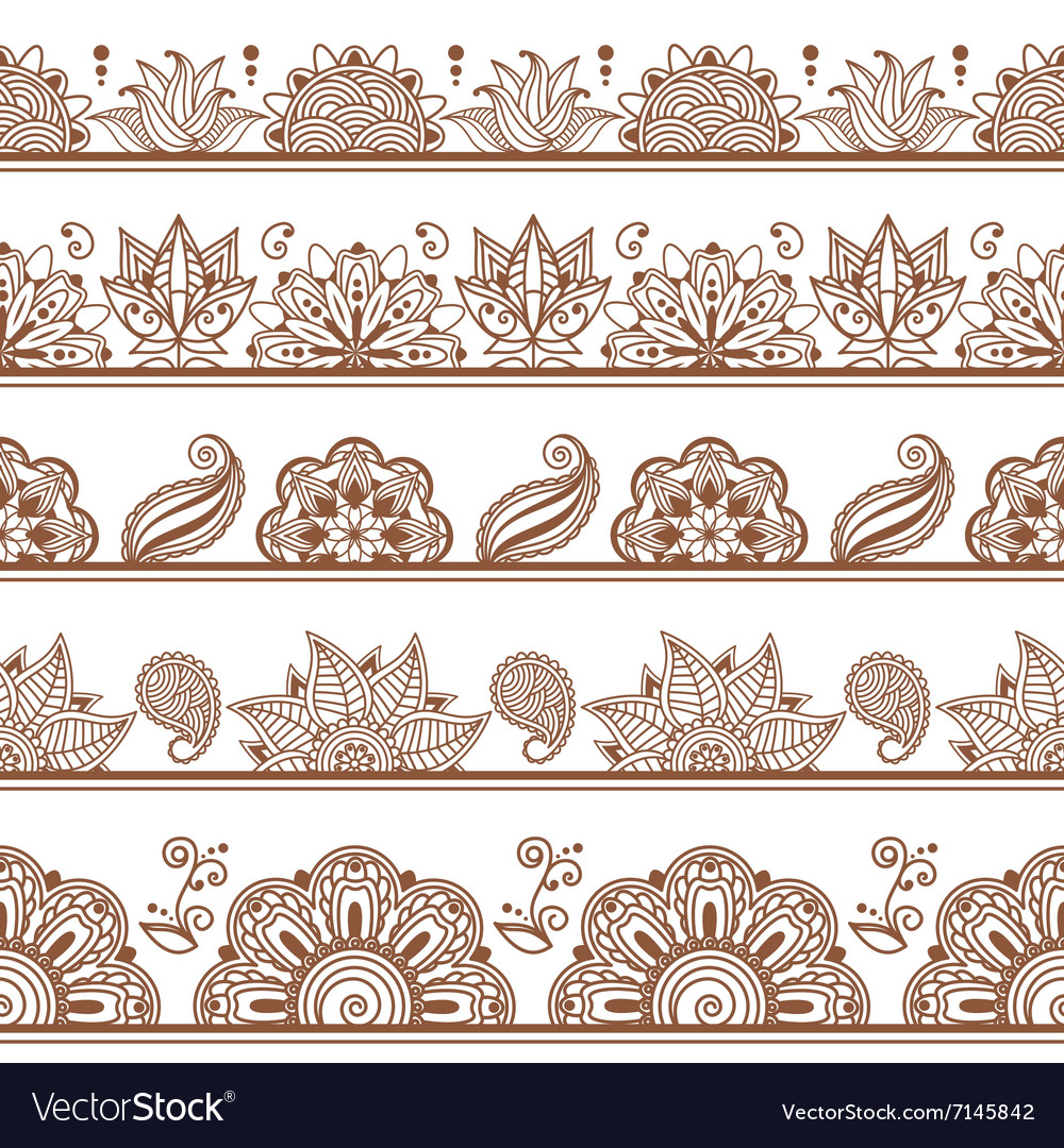 Seamless borders or patterns in indian style with vector
